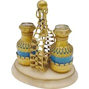 """Charming Palais Royal Blue Opaline Scent Caddy   """"Two Blue Opaline Scent Bottle""""  Bottles Draped in Gilt Ormolu  and Miniature Tops"""