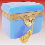 Exquisite Antique Blue Opaline Casket Hinged Box ~ Fancy Ornate Mounts &   Locking Key ~ Beautiful BLUE Opaline ~  A RARE & Very Fine Casket from My Treasure Vault