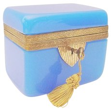 Exquisite Antique Blue Opaline Casket Hinged Box ~ Fancy Ornate Mounts &   Locking Key ~ Beautiful BLUE Opaline ~  A RARE & Very Fine Casket from My Treasure Vault