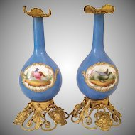 EXQUISITE Antique French Porcelain Scent Bottles ~ Birds Framed in Stunning Heavy Gilding &  Resting in Magnificent Gilt Figural Ormolu Stands  ~ A PAIR