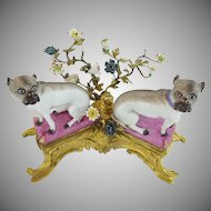 "REGAL 19C 12"" Bronze & Porcelain PUGS on Pink Pillows ~ Pugs Nestled in a Sea of Tiny Porcelain Flowers Resting on a Elaborate Gilt Bronze Stand ~"