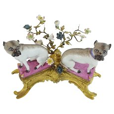 """REGAL 19C 12"""" Bronze & Porcelain PUGS on Pink Pillows ~ Pugs Nestled in a Sea of Tiny Porcelain Flowers Resting on a Elaborate Gilt Bronze Stand ~"""