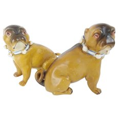 "Adorable  PAIR  Antique PUGS from Conte & Boehm ""Collar & Bells""  ~  Antique PUGS from Conte & Boehm ~"