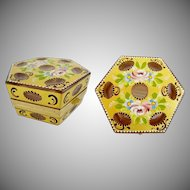 """Pretty French Gold Cut to Pink Hinged Box ~ Hand painted Flowers ~ """" Rare Octagon Shape Box """""""