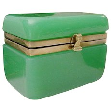 Antique French Green Opaline Hinged Box Casket ~ Pretty Green Opaline With Smooth Mounts &  S Clasp ~ Beautiful Shape