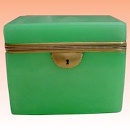 Magnificent Antique French Green Opaline Casket Hinged Box ~ Very Hard to Find Green Opaline ~ GREAT SIZE