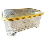 "Antique French Crystal Casket Hinged Box ""EXQUISITE PATTERN"""