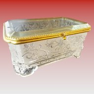 """Antique French Crystal Casket Hinged Box """"EXQUISITE PATTERN"""""""