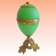 Palais Royal French  Green Opaline Egg Casket ~ Beautiful Gilt Bronze Base &  Finial.~ RARE Green Opaline