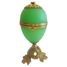 Palais Royal French  Green Opaline Egg Casket ~ Beautiful Gilt Bronze Base &  Finial.~ RARE Green Opaline