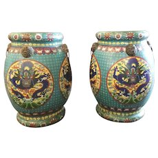"LAYAWAY  Antique Chinese Cloisonné' Garden Seats  ""YES a Pair! ""   ~ Fabulous Color, Dragons…THE BEST!  ~  A Glorious Pair of  Matching Garden Seats ."