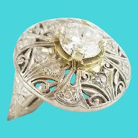 Estate Vintage Diamond Platinum Filigree 1 Carat Brilliant Cut Diamond