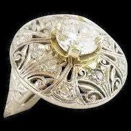 MAGNIFICENT Estate Vintage Diamond Platinum Filigree 1 Carat Brilliant Cut Diamond