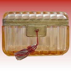 EXQUISITE Antique French Crystal Casket Hinged Box ~ A Pink Crystal Masterpiece ~ Stunning Shape &  Size
