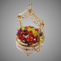 "Stunning  Czech ""HANDPAINTED""  Glass Fruit 1920 Hanging Lamp"