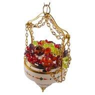 "Stunning  Czech ""HANDPAINTED""  Glass Fruit 1920 Hanging Lamp"