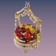 "Rare 1920 Hanging Czech Lamp ""HANDPAINTED"" Stunning Glass Fruit"