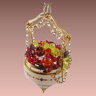 "Rare 1920 Hanging Czech Lamp ""HANDPAINTED"" Stunning Glass Fruit"