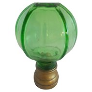 Antique French Green Crystal  Newel Post Finial Boule Escalier ~ Bronze Base Mount ~ Rare & Hard to Find These Days &  SUPER Pricing