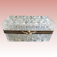 Beautiful Antique Crystal Casket Hinged Box ~ Smooth Metal Mounts & Rare Style Clasp Catch ~