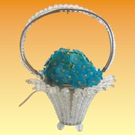 1920  Czech Glass Flower Lamp ~  Stunning Crystal Beaded Basket with a Awesome Blue Crystal Flower Top ~ Safe Wiring & Ready to Plug