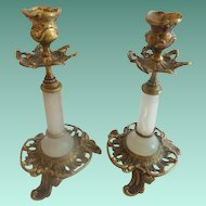 Antique French Alabaster & Bronze Candlesticks ~A Great Pair &  Lovely Condition ~