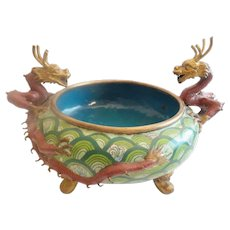 """LAYAWAY Antique 13"""" Chinese Cloisonné Footed Bowl w\ Twin  Dragons  Handles  ~  Terrific Colors &  Size ~EXQUISITE"""