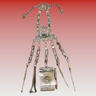 """Victorian 9"""" Jeweled Brass Chatelaine ~The Gilt Brass Chatelaine has an Aide-Memoire with Pencil,  A Pick with Twist Top, A Snuff spoon, Tongs, & Stiletto~"""