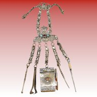 """Victorian 9"""" Jeweled Brass Chatelaine ~ Aide-Memoire with Pencil,  A Pick with Twist Top, A Snuff spoon, Tongs, & Stiletto"""