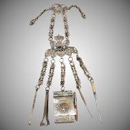 "Victorian 9"" Jeweled Brass Chatelaine ~ Aide-Memoire with Pencil,  A Pick with Twist Top, A Snuff spoon, Tongs, & Stiletto"