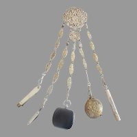 "11"" Antique Silver Ornate Chatelaine ~Five Pieces Including A Wonderful Tiny Leather Purse, Pencil, Pin Cushion, Mother of Pearl knife, & Mother of Pearl Knife Pick ~"