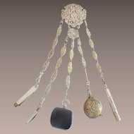 """11"""" Antique Silver Ornate Chatelaine ~Five Pieces Including A Wonderful Tiny Leather Purse, Pencil, Pin Cushion, Mother of Pearl knife, & Mother of Pearl Knife Pick ~"""