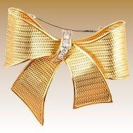 Vintage Estate  18KARAT Gold & Diamond Bow Brooch  ~ A Grand Size Bow Brooch ~ GLORIOUS