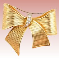 Vintage Estate  18KARAT Gold & Diamond Bow Brooch  ~ A Grand Size Bow Brooch ~ GLORIOUS