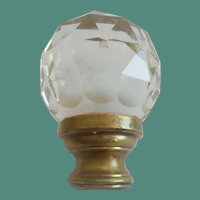 Antique French Crystal Newel Post Finial Boule Escalier  ~  Resting in a Bronze Mount ~
