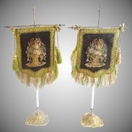 Pair  Napoleon III Era Face Screens Fans  in Porcelain &  Bronze Stands ~ Hand Embroidered Face Screens, Petitpoint w Awesome Braided Trim, Tassels, & Fringe Resting in the Original Porcelain & Bronze Stands