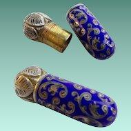 Antique Austrian Silver Enamel Miniature Lipstick ~ Cobalt Blue &  Gleaming Sterling Silver ~ Stamped: Sterling Made in Austria