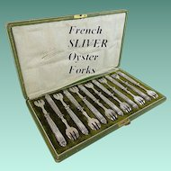 Antique French Silver Oyster Forks in the Original Presentation Box  ~ 12 Oyster Forks Hallmarked & in the Original Box ~