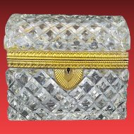 Antique French Dome Top Cut Crystal Casket Hinged Box