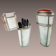 Extraordinary Very Fine Antique Mother of Pearl Carnelian Silver Etui  ~ Four Awesome Silver &  Ebony Pieces. ~   Tested 800