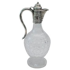 Antique Silver & Cut Glass Wine Claret Jug ~  Baluster Shaped Cut Glass with Magnificent Ornate Silver Mount