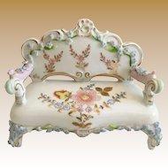 Miniature  Elfinware Rococo Style Porcelain Settee