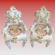 Elfinware Miniature  Rococo Style Porcelain Chairs