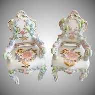 Elfinware Miniature  Rococo Style Porcelain Chairs