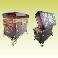 """Antique Moser Double Handle Casket Hinged Box """"RAREST COLOR"""""""