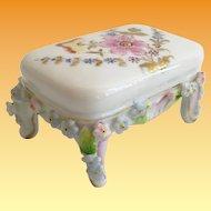 Miniature  Rococo Style Porcelain Stool in the Manner of Meissen Elfinware
