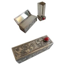 Spectacular Antique 800 Silver Italian Jeweled Mirrored Lipstick Case ~ Lovely RED Gem ~ CIRCA: 1st Quarter 20th Century