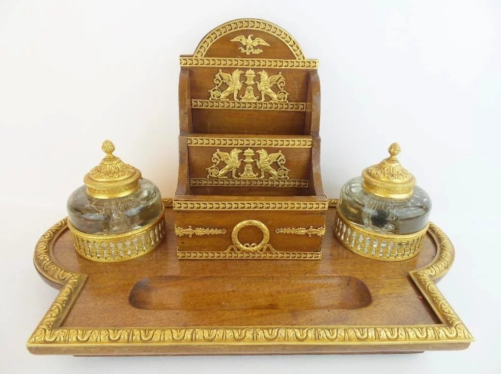 Click to expand - LAYAWAY Antique French Empire Big Desk Set ~ Letter Holder