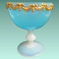 Antique French Blue Opaline Compote  ~ Exquisite Draped Gilt Ormolu Circling the Top Edge  ~ The Blue Opaline Changing to a Bulle de Savon Stemmed Base ~  IT IS GLORIOUS!!!