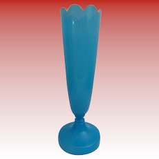 """Beautiful 15"""" Antique French Blue Opaline Vase ~ Stunning Scalloped Top with a Touch of Gliding at the Edge"""